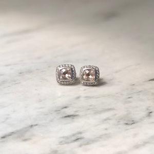 David Yurman Albion Earrings Rose Quartz Diamonds